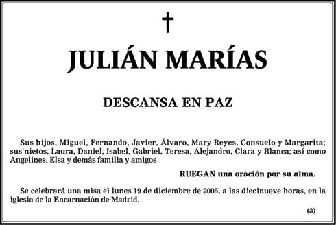 Fallece El Filósofo Español Julián Marías 15 Diciembre 2005