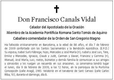 Fallece El Metafísico Español Francisco Canals Vidal 7 Febrero 2009