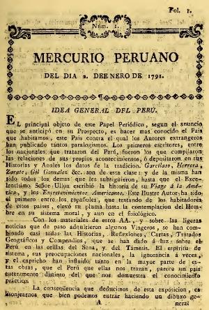 Mercurio Peruano, numero 1, Lima 1791