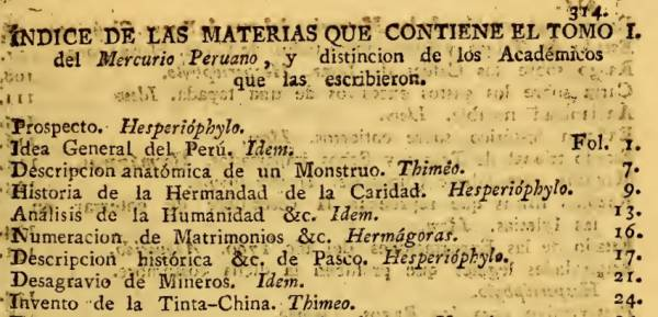 Mercurio Peruano 1791-1794