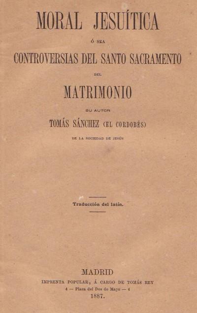 Sacramento Do Matrimonio Catolico : Tomás sánchez sj controversias del santo sacramento del matrimonio