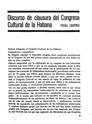 Fidel Castro Discurso De Clausura Del Congreso Cultural De La Habana Pensamiento Crítico Habana 1968